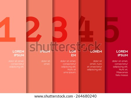 Background with 5 vertical stripes with numbers and enough copyspace not only for your infographic - stock vector