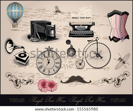 background with vintage elements - stock vector