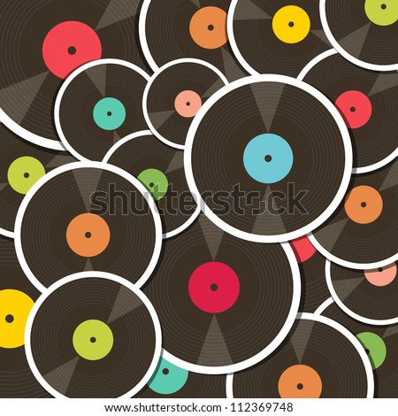 Background with vinyl records. Illustration with clipping mask. - stock vector