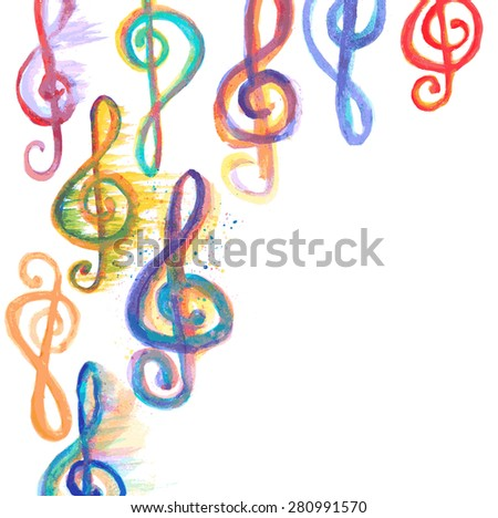 background with watercolor treble clefs g on white - stock vector
