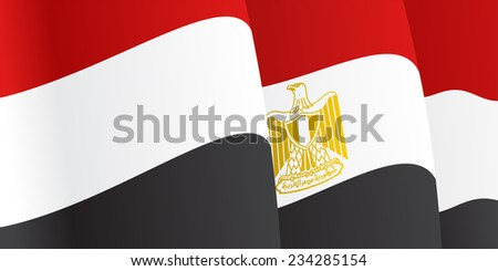 Background with waving Egyptian Flag. Vector illustration - stock vector