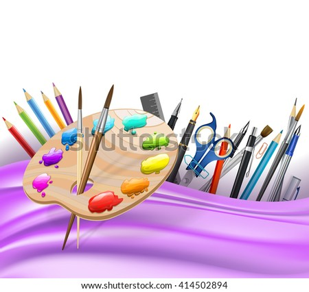 background with wavy lines and color pencils, art palette, brushes, pens. vector - stock vector