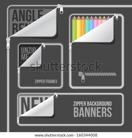 background zipper angle frame web banners set - stock vector