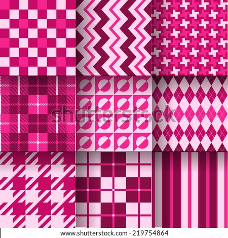Backgrounds. Seamless pattern background with pink & rose colors. Vector illustration. Pattern Swatches made with Global Colors - quick, simple editing of color - stock vector