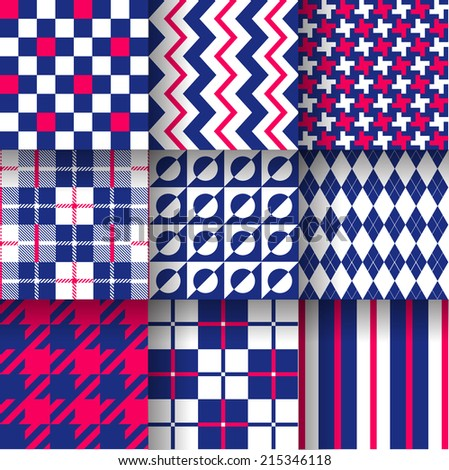 Backgrounds. Seamless pattern background with red & blue colors. Vector illustration. Pattern Swatches made with Global Colors - quick, simple editing of color  - stock vector