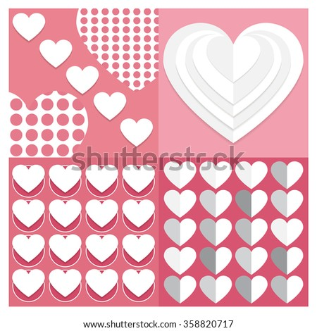 backgrounds Vector set Valentine heart  of seamless patterns. Geometric repeating textures with hearts. Stylish