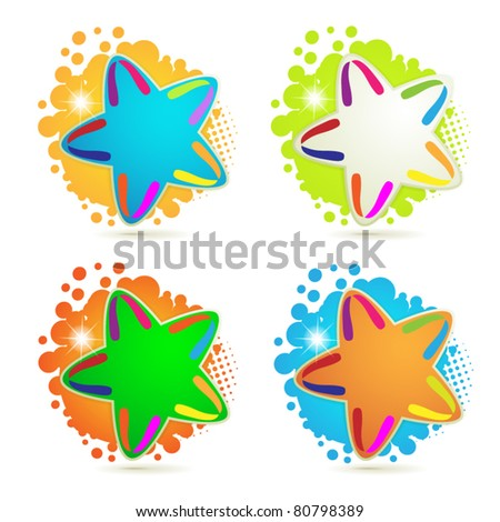 Backgrounds with colored stars and circles isolated on white