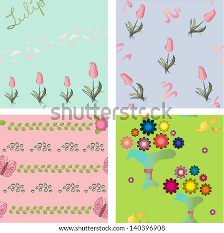 Backgrounds with different flowers and butterfly