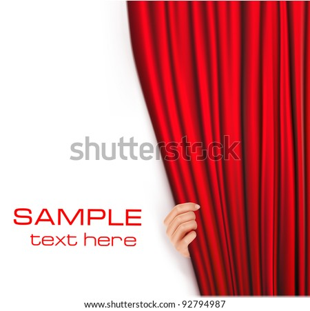 Backgrounds with red velvet curtain. Vector illustration. - stock vector