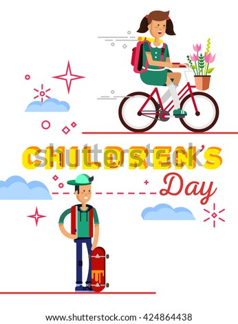 Backgroung Children's Day. Kids active. Happy girl riding bike. Card for holiday of children. Celebration Children's Day. Typography. Happy boy ride. Smile children day. Happy children day