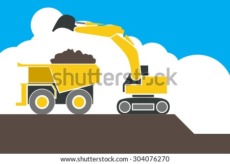 Backhoe loader excavator machine loading dumper truck, sand and soil, vector - stock vector