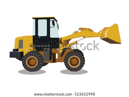 backhoe, machinery car, construction sign vector
