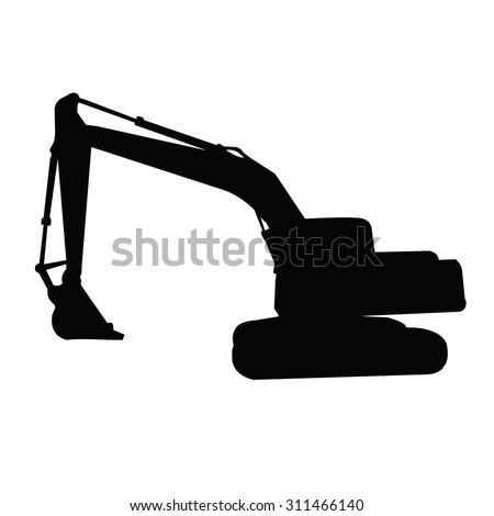 backhoe silhouette vector  - stock vector