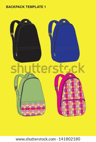 backpack design template - stock vector