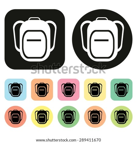 backpack icon bag icon school bag stock vector 289411670 shutterstock