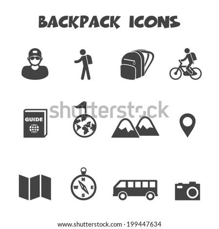 backpack icons, mono vector symbols - stock vector