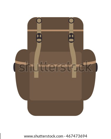 Backpack in flat style, vector illustration