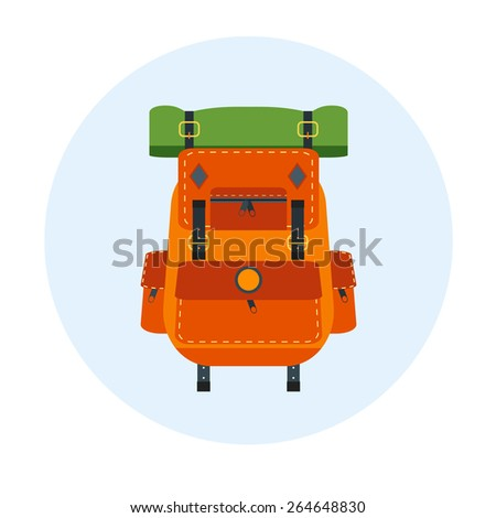 Backpack. Vector isolated bag for travel, baggage, tourism, hiking, camping.Equipment, rucksack, pack, back, design object. Adventure element.Orange and green colors. - stock vector