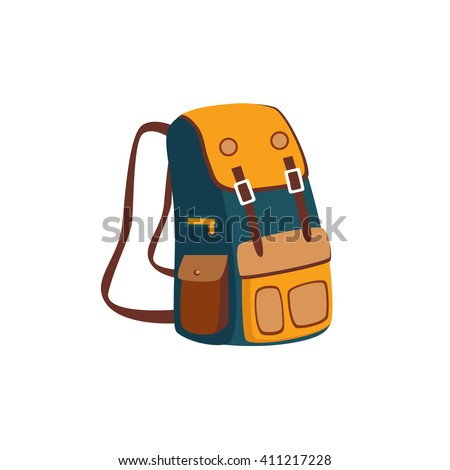Backpack With Yellow Pockets Cartoon Simple Style Colorful Isolated Flat Vector Illustration On White Background - stock vector