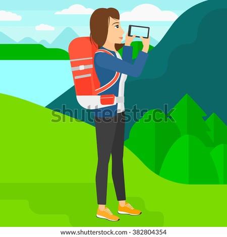 Backpacker taking photo. - stock vector