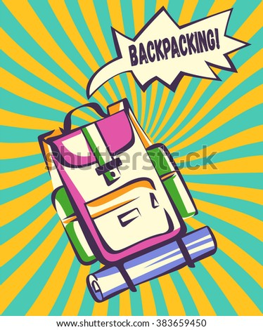 Backpacking retro illustration. Backpack with comic speech explosion and vintage colorful rays in modern pop art style. Vector image - stock vector