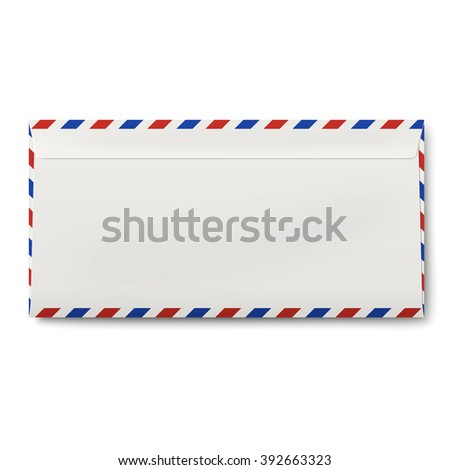 Backside of sealed DL air mail envelope isolated on white background