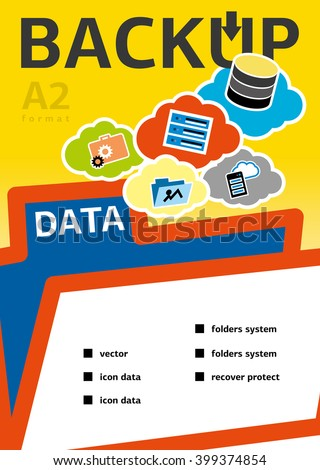 Backup and recovery data. Design for Web, Mail, Brochures. Mobile, Technology, and Infographic Concept. Modern flat and line icons.