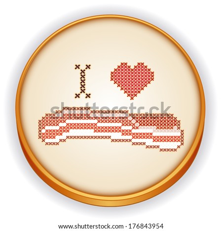 Bacon Embroidery.  I Love Bacon, fun cross stitch needlework design on retro wood embroidery sewing hoop isolated on white background. EPS8 compatible.  - stock vector