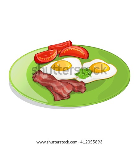 Bacon, tomato and fried eggs on the plate. Vector illustration