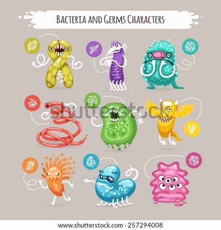 Bacteria and germs characters set for medical design isolated on