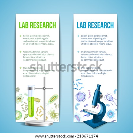 Bacteria and virus lab research vertical banners with test tube and