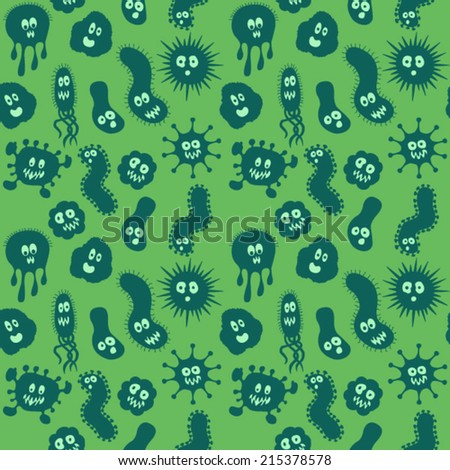 Bacteria / Germs repeat pattern - stock vector