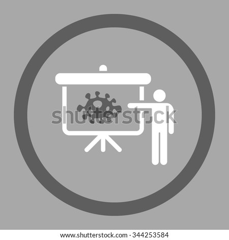 Bacteria Lecture vector icon. Style is bicolor flat rounded symbol, dark gray and white colors, rounded angles, silver background. - stock vector