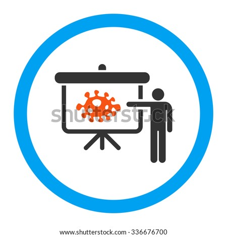 Bacteria Lecture vector icon. Style is flat rounded symbol, bright colors, rounded angles, white background. - stock vector