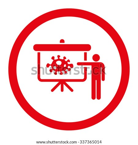 Bacteria Lecture vector icon. Style is flat rounded symbol, red color, rounded angles, white background. - stock vector