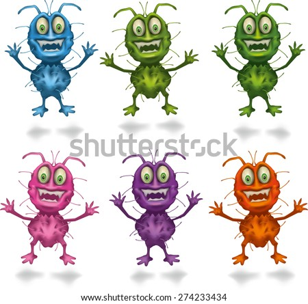 Bacteria Set. Vector illustration. Isolated on white background