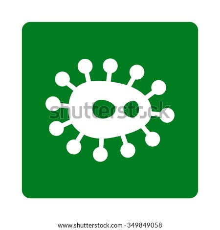 Bacteria vector icon. Style is flat rounded square button, white and green colors, white background. - stock vector