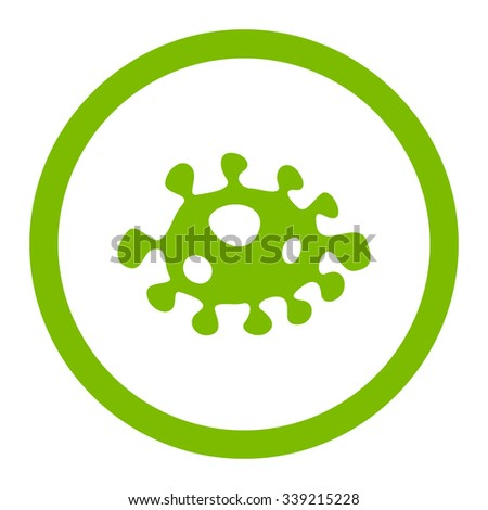 Bacteria vector icon. Style is flat rounded symbol, eco green color, rounded angles, white background. - stock vector