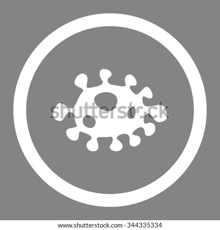 Bacteria vector icon. Style is flat rounded symbol, white color, rounded angles, gray background. - stock vector