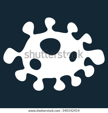 Bacteria vector icon. Style is flat symbol, white color, rounded angles, dark blue background. - stock vector