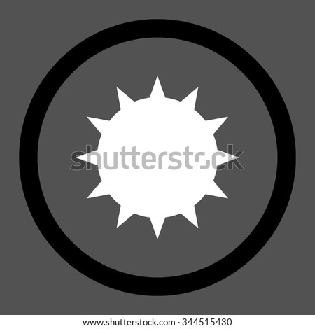 Bacterium vector icon. Style is bicolor flat rounded symbol, black and white colors, rounded angles, gray background. - stock vector