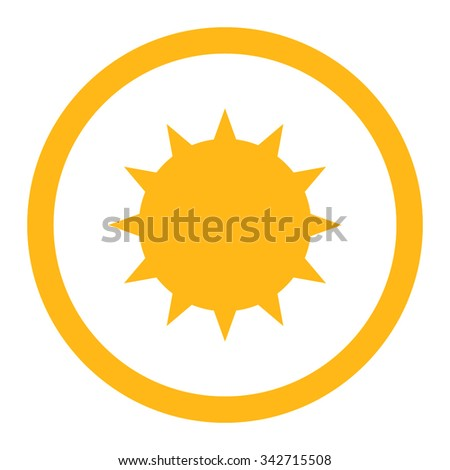 Bacterium vector icon. Style is flat rounded symbol, yellow color, rounded angles, white background. - stock vector