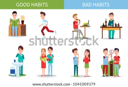Bad and good habits poster set with active people and unhealthy actions, read and run, drinking alcohol and smoke, isolated on vector illustration