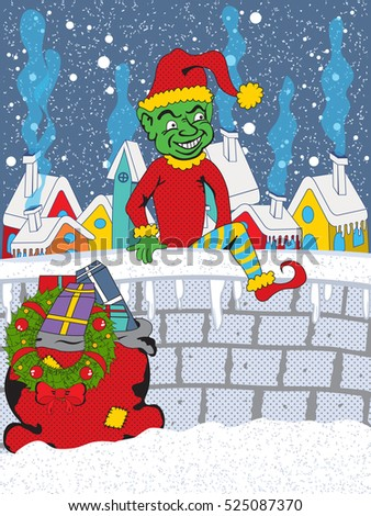 Bad elf escapes from a small village with bag full of gifts and a Christmas wreath. He smiles evilly because he has just stolen Christmas from good people.