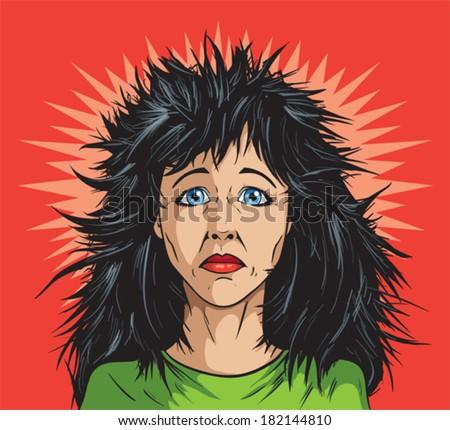 Bad hair day - stock vector