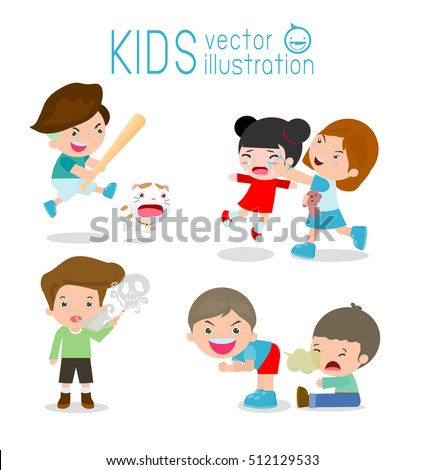 bad kids behavior bad boy bad girl the evil of child on white - Cartoon Picture Of Child