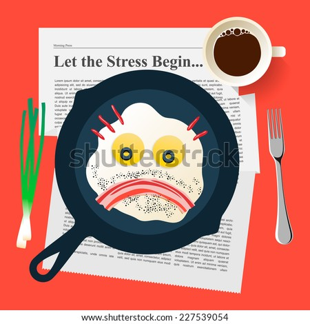Bad mood, breakfast with sad face make with fried eggs and bacon, vector illustration. - stock vector