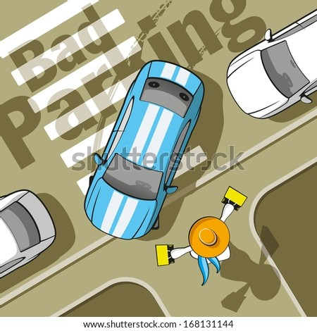 Bad parking. Car blocked the crosswalk and closed to pedestrians. - stock vector