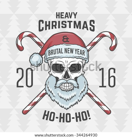 Bad Santa Claus biker with candies print design. Heavy metal Christmas portrait. Rock and roll 2016 new year t-shirt illustration. - stock vector