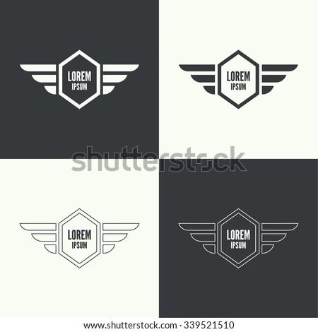Badge Shield Wings Symbol Military Civil Stock Vector Royalty Free